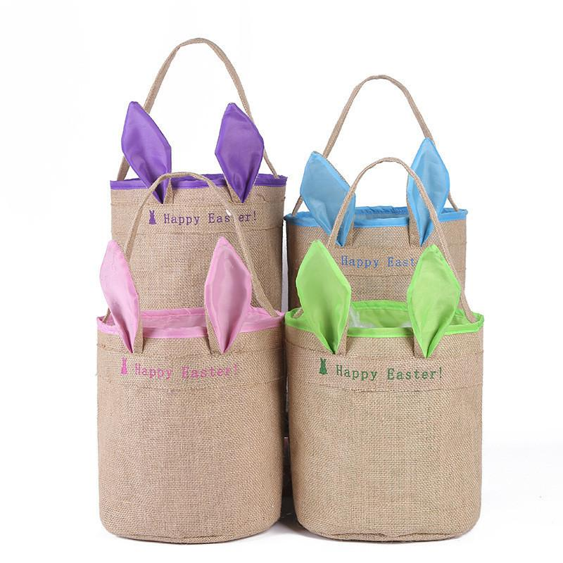 Burlap Easter Basket with Bunny Ears Baskets Jute Bucket Tote Bag Cute Birthday Gift Handbag DIY Rabbit Ears Put Basket Storage Bags 2019