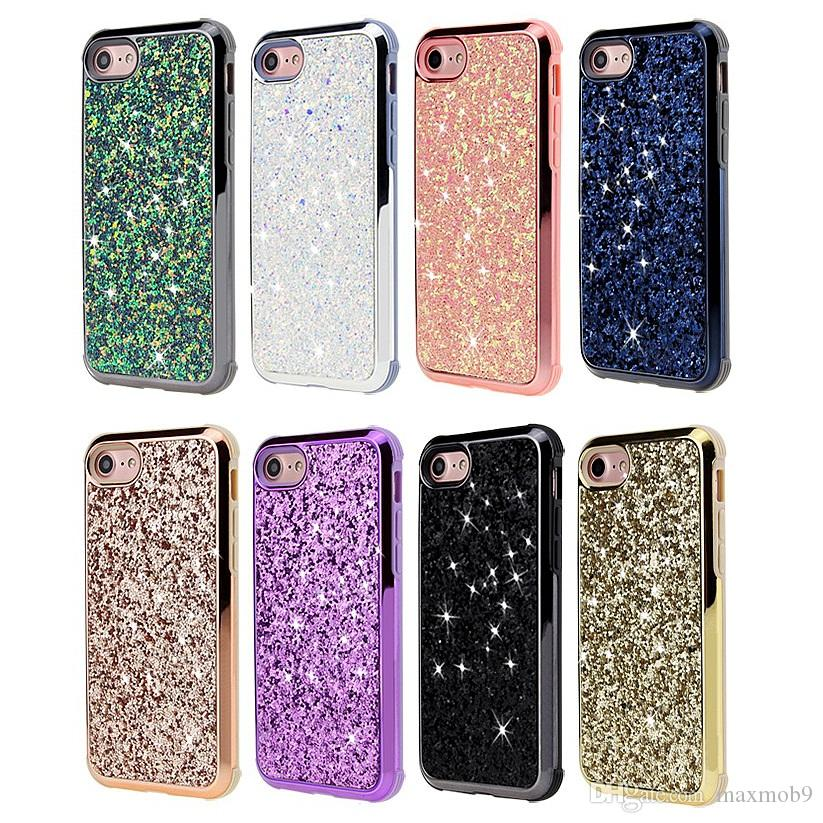 buy popular 4784d b202b For Iphone XS MAX XR X 7 8 6 plus rhinestone cell phone case tpu pc plated  bumper glitter bling cover for samsung S8 S9 plus note 8 9 luxury