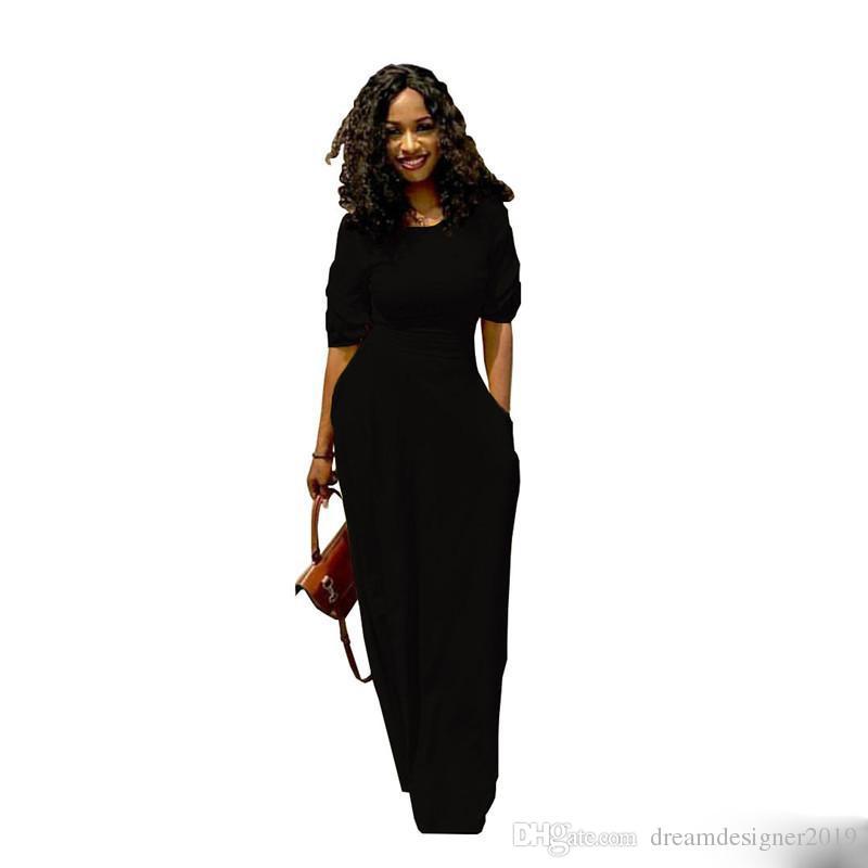 ab5d9135cf1ea1e Женщины Макси платье Летние длинные юбки с карманом повседневная  сексуальная вечернее платье 1/2 рукава длиной до пола, уличная одежда  женская одежда черный ...