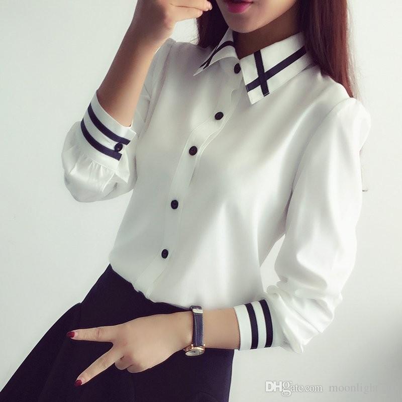 4b1851ee56 Compre Moda Para Mujer Elegante Pajarita Blusas Blancas Gasa Camisa Con  Cuello Doblado Blusa Escolar Mujeres A  15.58 Del Moonlight710