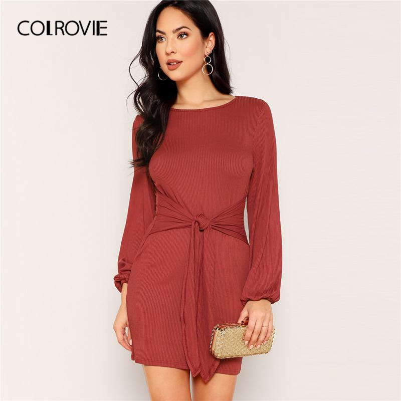 f6b6c69aed7c Acquista COLROVIE Rust Solid Knot Front Ribbed Knit Vestito Elegante Donna  2019 Primavera Lungo Bishop Dress Mini Dress Office Abiti Da Donna A  33.51  Dal ...