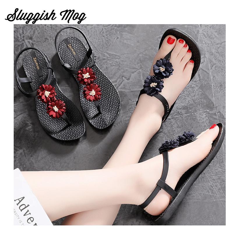 f0ac4f349 Sloggish Mog Femmes D été De Mode Fleur Sandales Plus La Taille 40 Floral  Bohême Style Appartements Pantoufles Casual Gladiateur Chaussures WS08