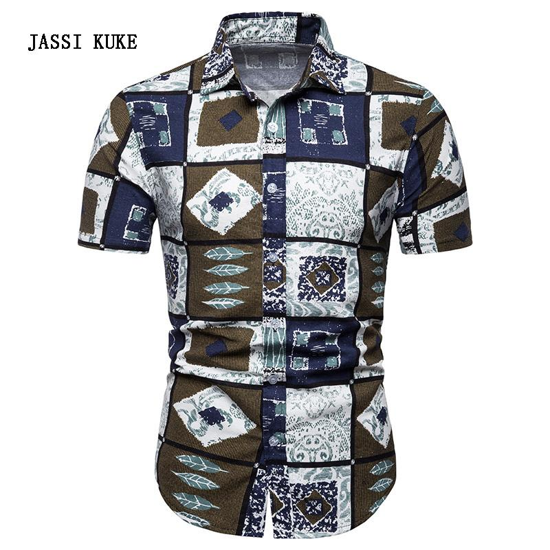 f6f13838a 2019 Men Hawaiian Shirt Short Sleeve Floral Print Mens Dress Formal Shirts  Camisa Social Masculina Men Casual Slim Fit Tops Shirt 5XL From Frenzen, ...