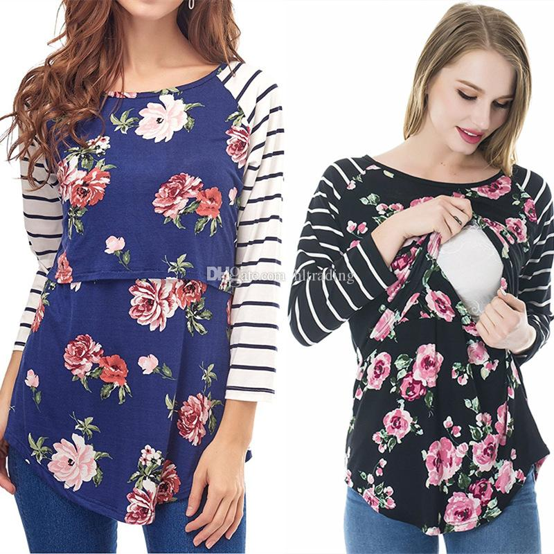 5195e6e43 Compre Mujeres Floral Rayas Camisetas De Maternidad Tops Primavera Otoño  Manga Larga Estampado De Flores Camiseta Mujer Embarazada Empalme Ropa De  Lactancia ...