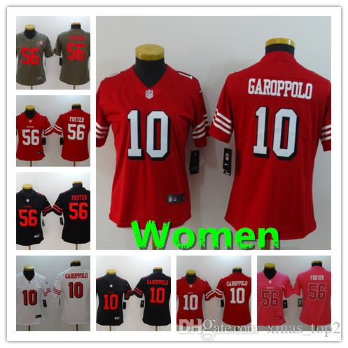 low priced 53b1d 21030 Women 10 Jimmy Garoppolo San Francisco Jersey 49ers Football Jersey  Stitched Embroidery 56 Reuben Foster Color Rush Women Football Shirt