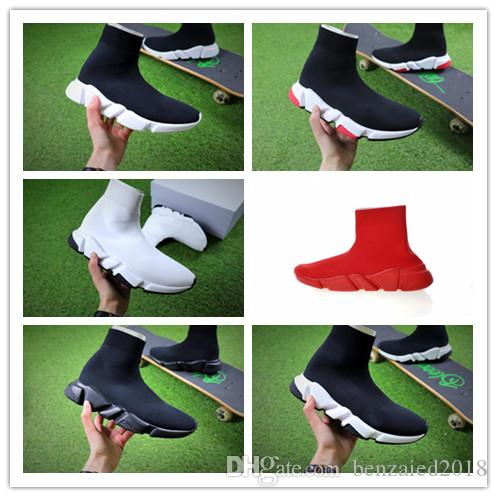 2018 Fashion Paris Triple S Luxury Shoes Speed Stretch Knit Sock Mid Sneakers Mens Women Red Chaussures Casual Running Designer Shoes 36-45