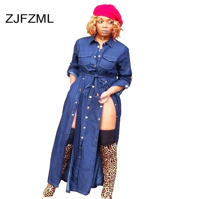 d799a7d65eb Double High Split Sexy Denim Dress Casual Women Blue Turn Down Collar Long  Sleeve Maxi Dress Vintage Buttons Pockets Sash Dress Long Sleeve White And  Gold ...