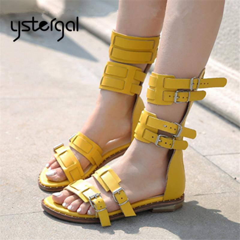 5b6debe47c36b7 Ystergal Yellow Women Sandals Summer Casual Flat Shoes Woman Beach Flats  Sandalias Mujer Genuine Leather Gladiator Sandal Flats Flat Shoes Wedge  Shoes From ...