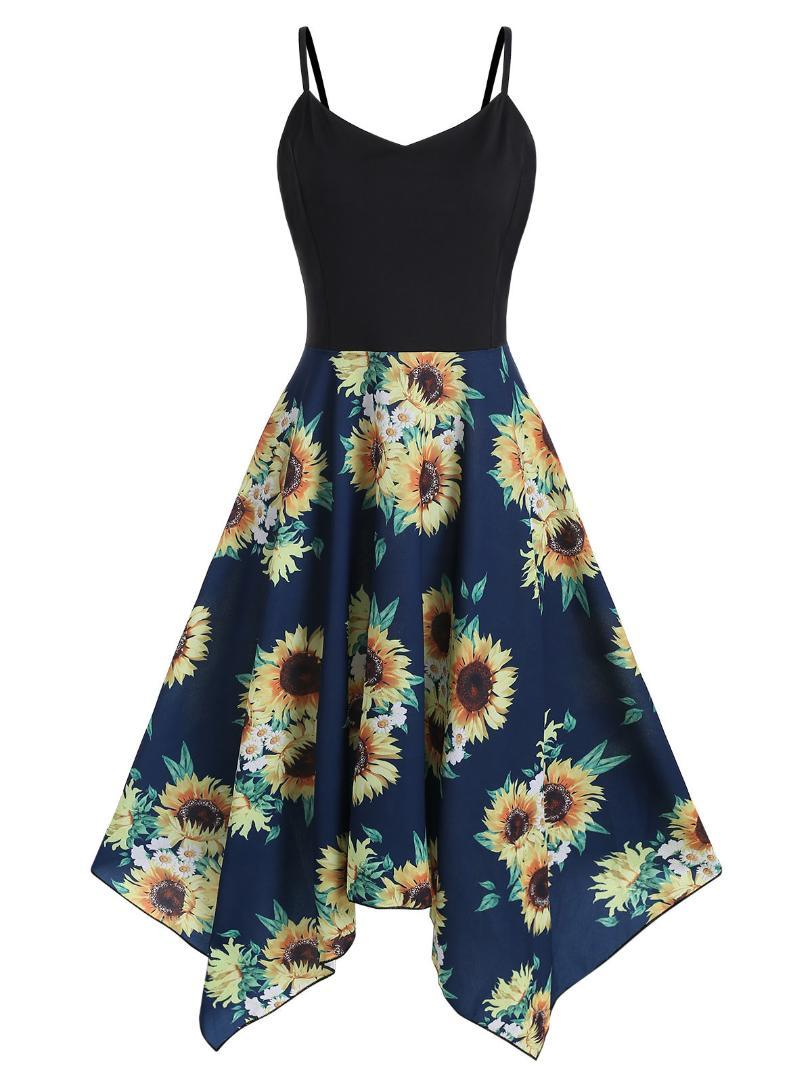 Kenancy Plus Size Sunflower Print Handkerchief Dress Asymmetrical ...