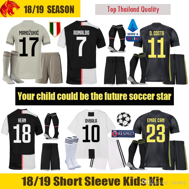 finest selection 7a111 16453 19 20 Juventus Kids Kit 2019 EMRE CAN Juventus RONALDO Kids Soccer Jersey  DYBALA MANDZUKIC Children Football Uniform PJANIC KEAN Youth
