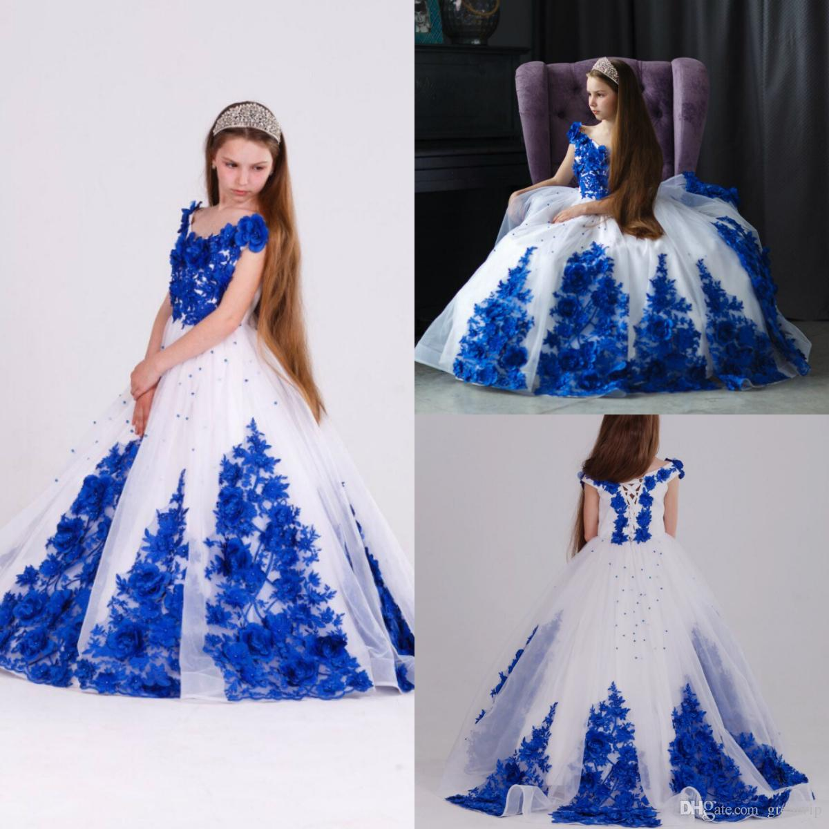 b4c663d5163b Royal Blue White Flowers Girls Pageant Dresses V Neck Lace Up Princess Prom  Dress Floor Length Kids First Communion Gowns Wedding Evening Pageant  Dresses ...