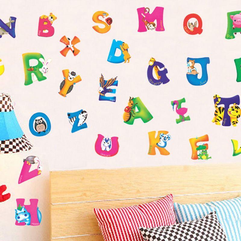42x23 CM A-Z Alfabeto Animali Decorazione Della Casa Lettere Inglese Vinile Adesivi Murali Stickers Decalcomanie Nursery Camera Dei Bambini Decor Parete