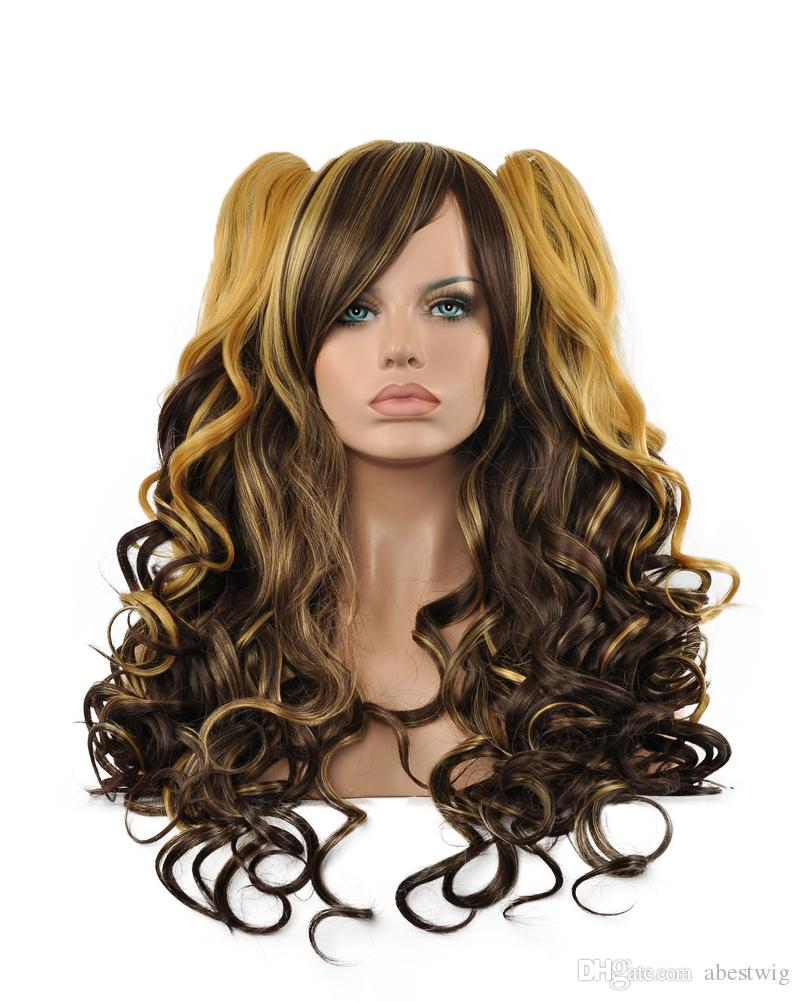 Beauty Women Long Yellow Mix Wavy Curly Bangs Double Ponytail Hair Kanekalon Heat Resistant Cosplay Party Full Wig Wigs