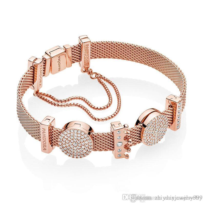 Black Friday 2018 Pandora Reflexion Shine Rose Gold Plated Safety Chain Bracelet  Gift Set 925 Sterling Silver Jewelry Full Original Packages Childrens Charm