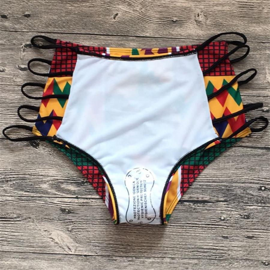 Sexy backless bikinis African Print Swimsuits High Waist Bathing Suit Halter Top Bikini Set Beach Push Up swimwear