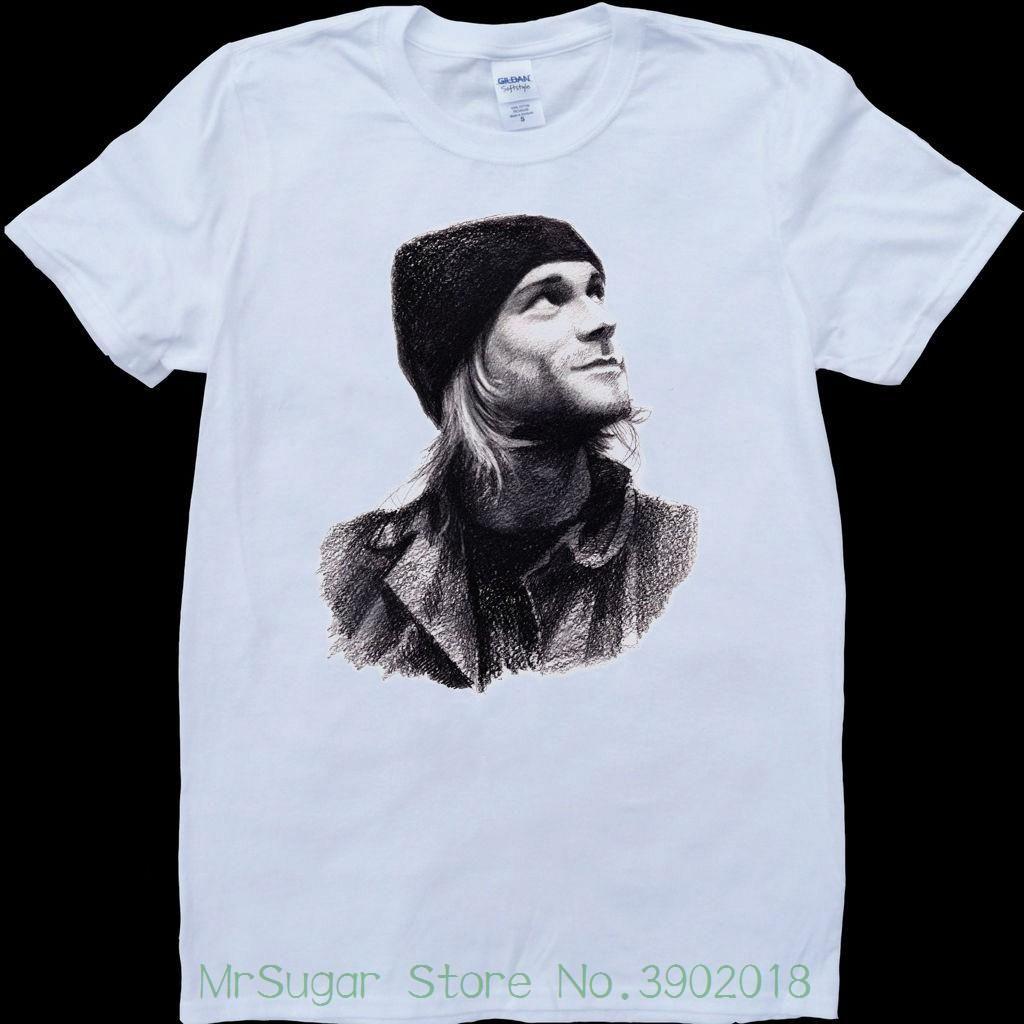 Kurt cobain pencil drawing white custom made t shirt sleeve t shirt summer men tee tops clothing online funky t shirts buy t shirt design from jie030