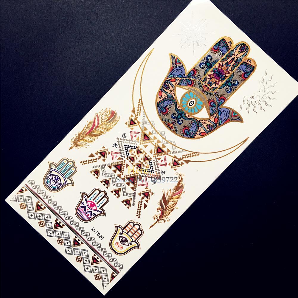 Hot Colored Metalllic Gold Tattoo Hamsa Hand Eye Feather Design Flash Temporary Tattoo Sticker Waterproof Arm Hand Tatoo HGMT026