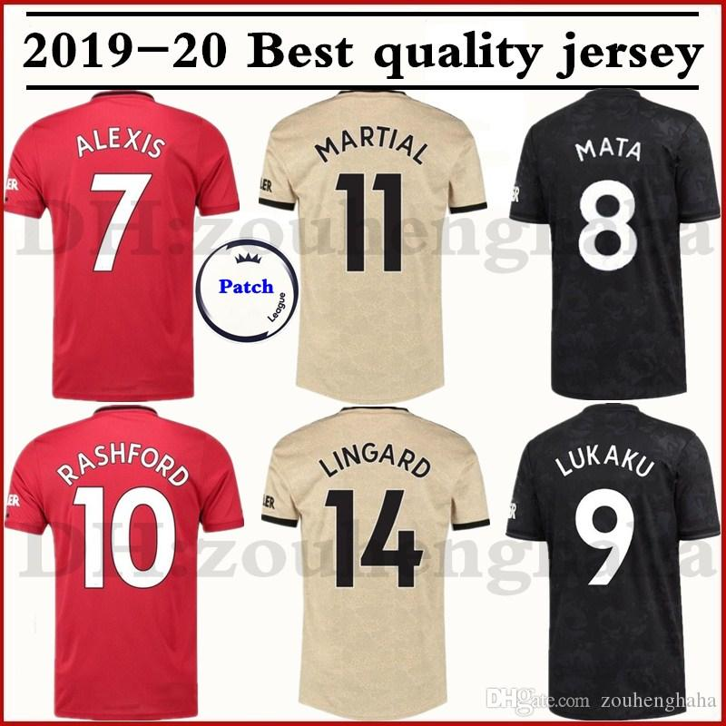 quality design dd813 bffe6 Maillot de football 2019 2020 Man Utd POGBA 19 20 à domicile 3ème MARTIAL  LINGARD MATIC SMALLING RASHFORD WAN-BISSAKA Maillot de football