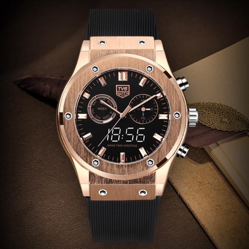 2019 Men Watches TVG  Sport Brand Men Watches Rose Gold Dual Dispaly Quartz  Watch horloge mannen reloj de hombre