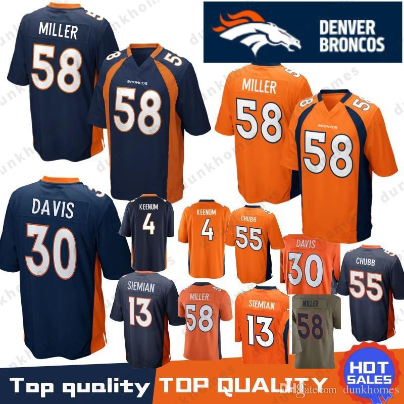 reputable site 45964 5089f 58 Von Miller Broncos Jersey 55 Bradley Chubb 30 Phillip Lindsay 4 Case  Keenum 7 John Elway Terrell Davis Top quality 2019 Stitched
