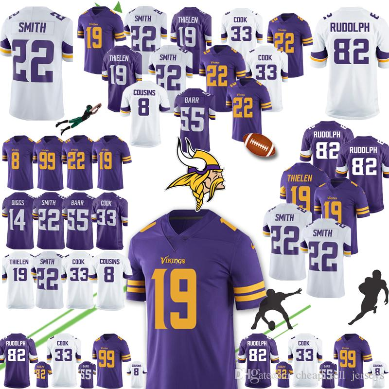 sports shoes 61f58 822ec 19 Adam Thielen 22 Harrison Smith Vikings Jersey 8 Kirk Cousins Minnesota  84 Randy Moss 14 Stefon Diggs 22 Harrison Smith 19 Adam Thielen