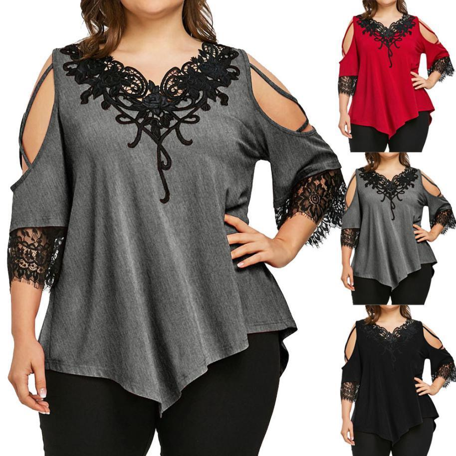 f182194355265 2019 New Hot Sale Spring Summer Women Fashion Sexy Large Size Lace Off  Shoulder T Shirt Short Sleeve V Neck Tops Clothes Funny T Shirt Companies  Designer ...
