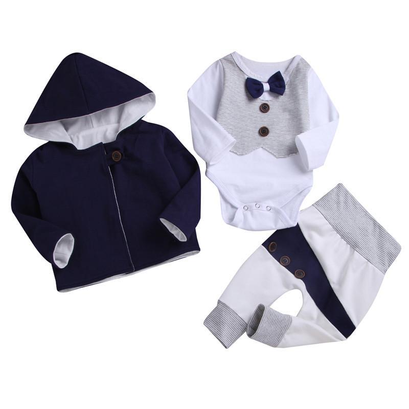 c4c11dc9a4dd0 Acheter Style Gentleman Nouveau Né Enfants Bébé Garçon Vêtements Ensemble  Tops + Manteau À Capuchon + Pantalon Survêtement Tenues De  29.54 Du Bradle  ...