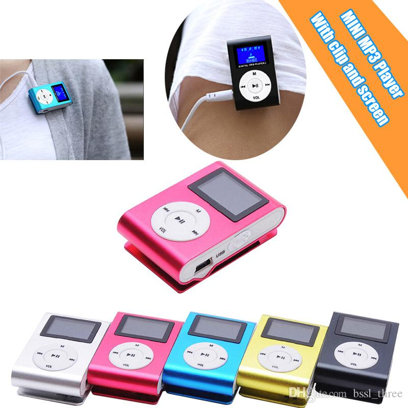 Mini Portable Colorful Metal Clip Waterproof MP3 Player with 1.2'' Inch LCD Screen & FM support Micro SD TF Slot Sport Music walkman