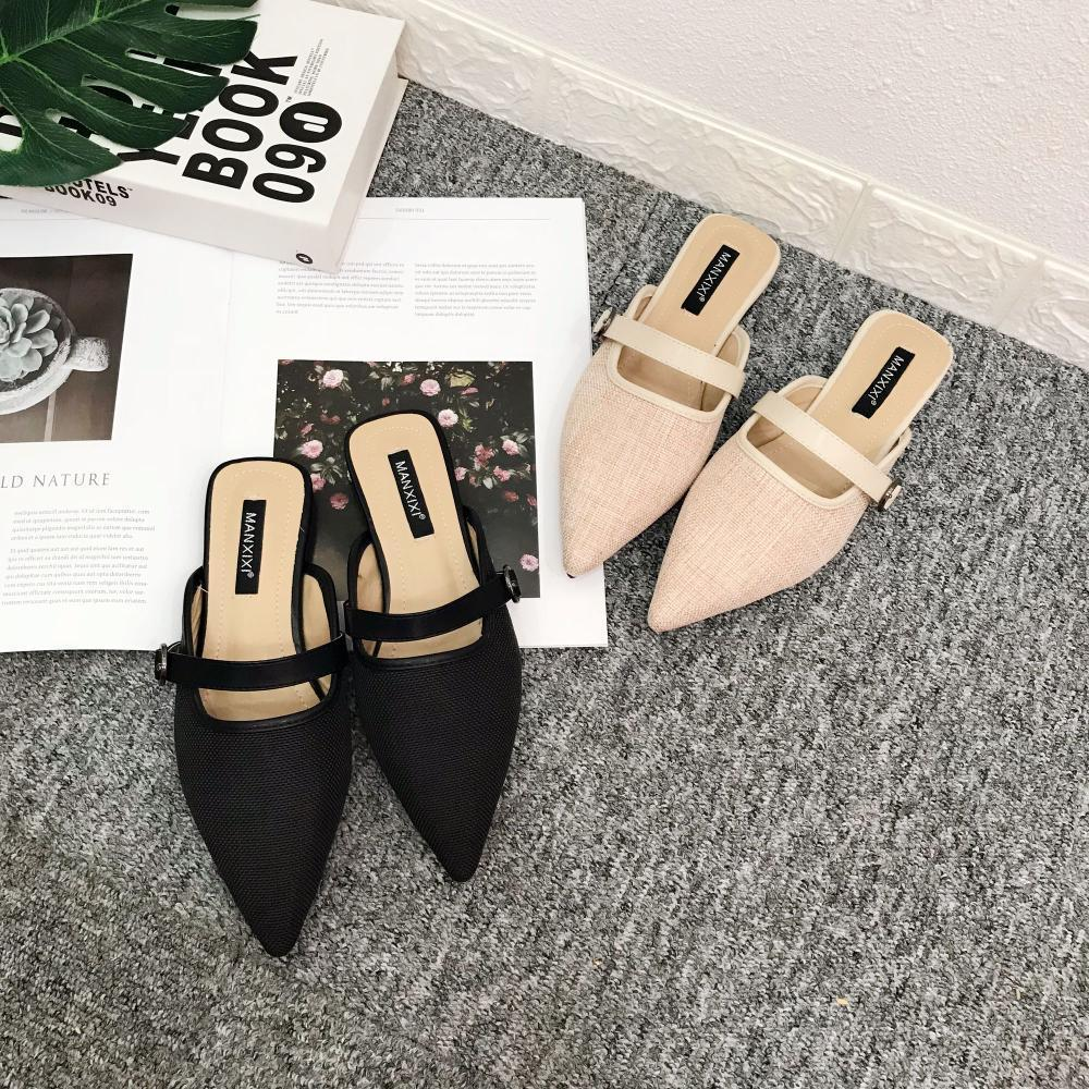 4e1e9acdf Compre Femme Sapatos Casuais Mujer Fivela Meia Chinelos Pontudo Toe  Deslizamento Mulas Planas De Microfibra De Malha Outwear Slides Confortável  Babouche ...