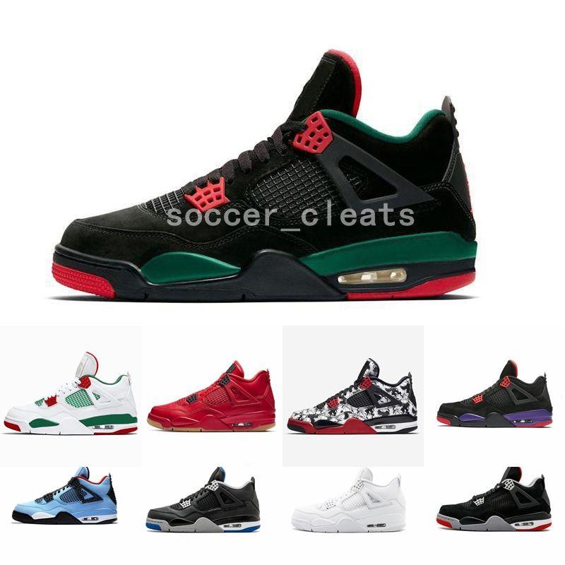 huge selection of 4abb2 9079b Negro Blanco Pizzería 4 4s Zapatos De Baloncesto Para Tatuajes Zapatillas  De Deporte Para Hombres Pizze Puro Dinero Cemento Raptores Solteros Día  Bred ...