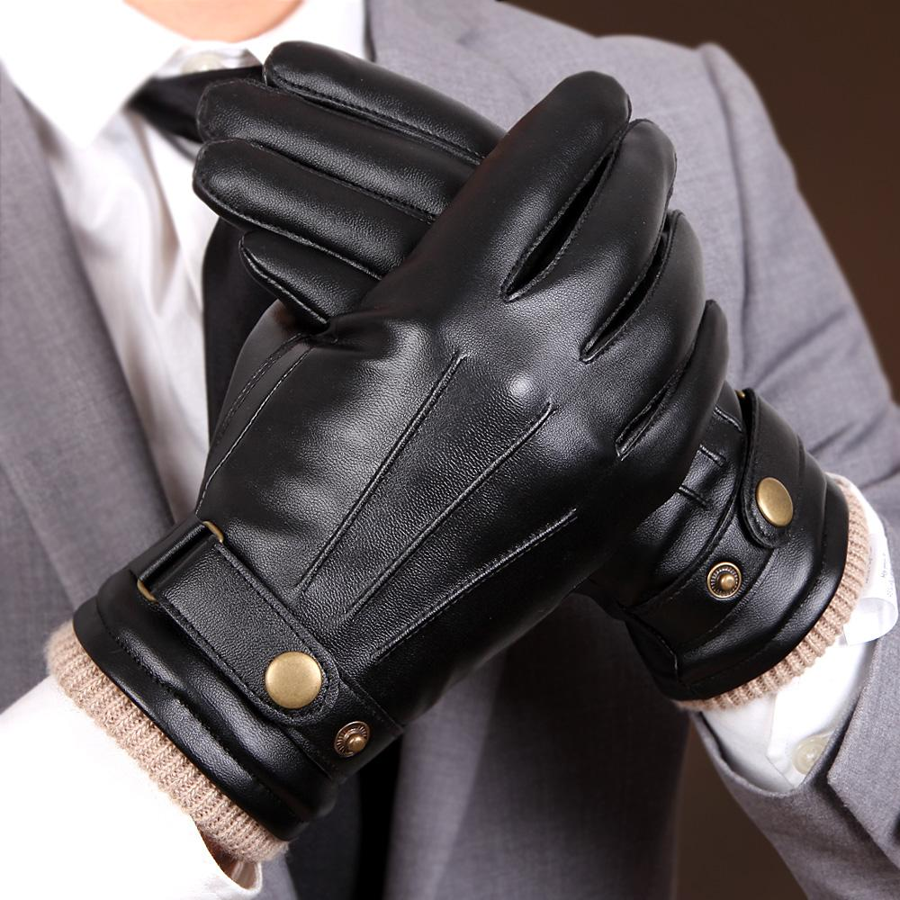 2019 New Arrival Fall Mens Gloves Black Winter Warm Mittens Touch Screen Windproof Keep Warm Driving Male PU Leather Gloves