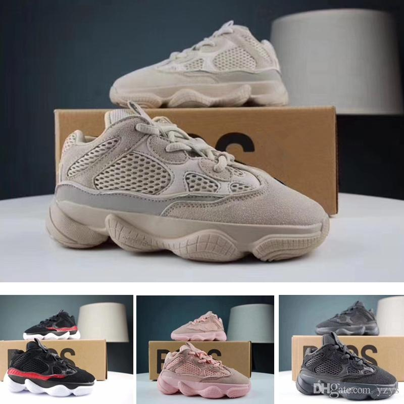 new concept 6bb89 b17cc Kids Shoes Kanye West 500 Salt Utility Black Pink Blush Desert Rat Infant  Running shoes Baby Boys Girl Toddler Youth Children 500 Sneakers