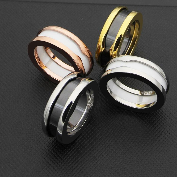 2f60625139b80 Size 5 to 11 Black/White Ceramic Whorl Narrow version Rings Titanium  Stainless steel Women/Men Jewelry Wedding ring love Yellow Gold