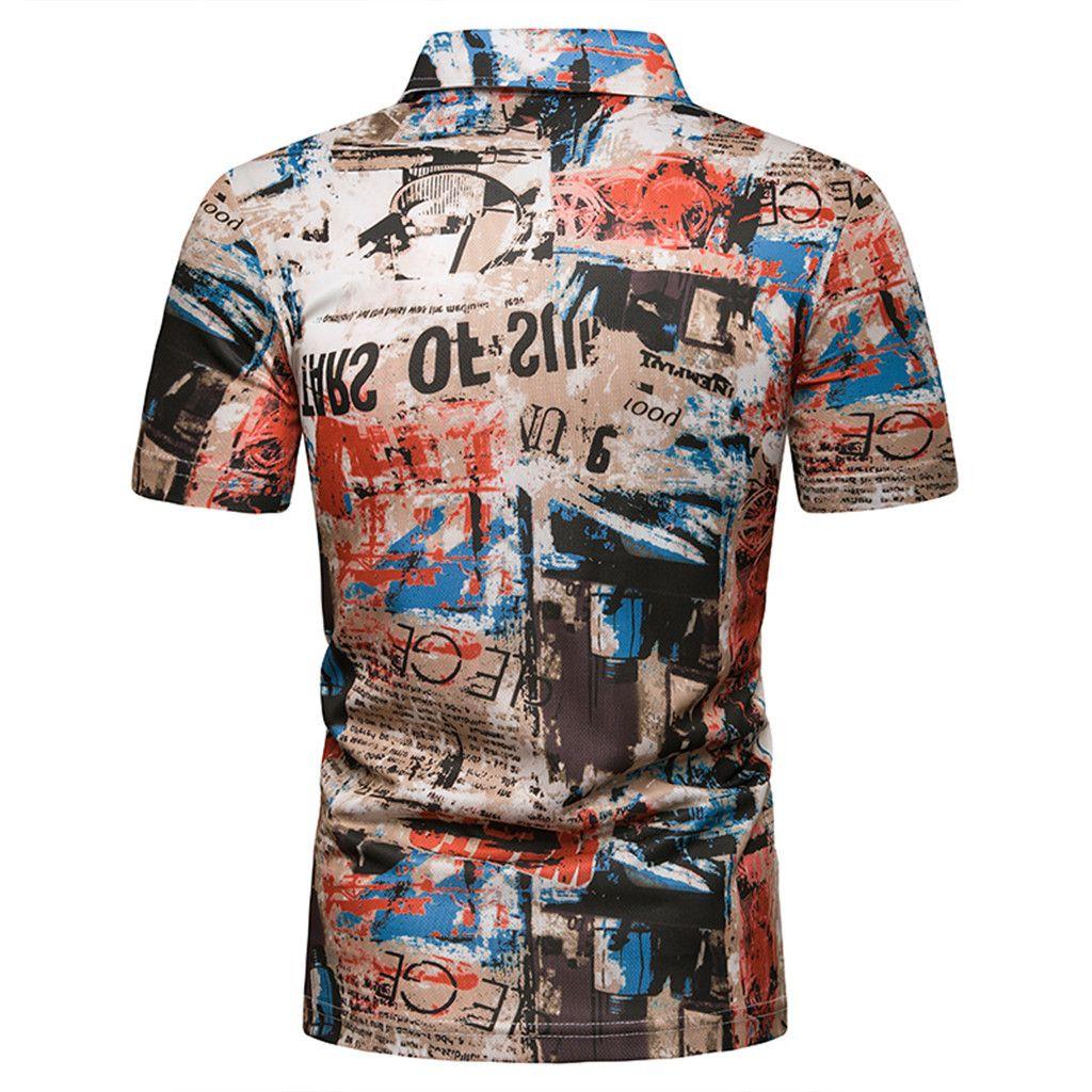 CHAMSGEND Shirt Man s Fashion Short Sleeve Khaki Letter Printed T ... bd11c34e7