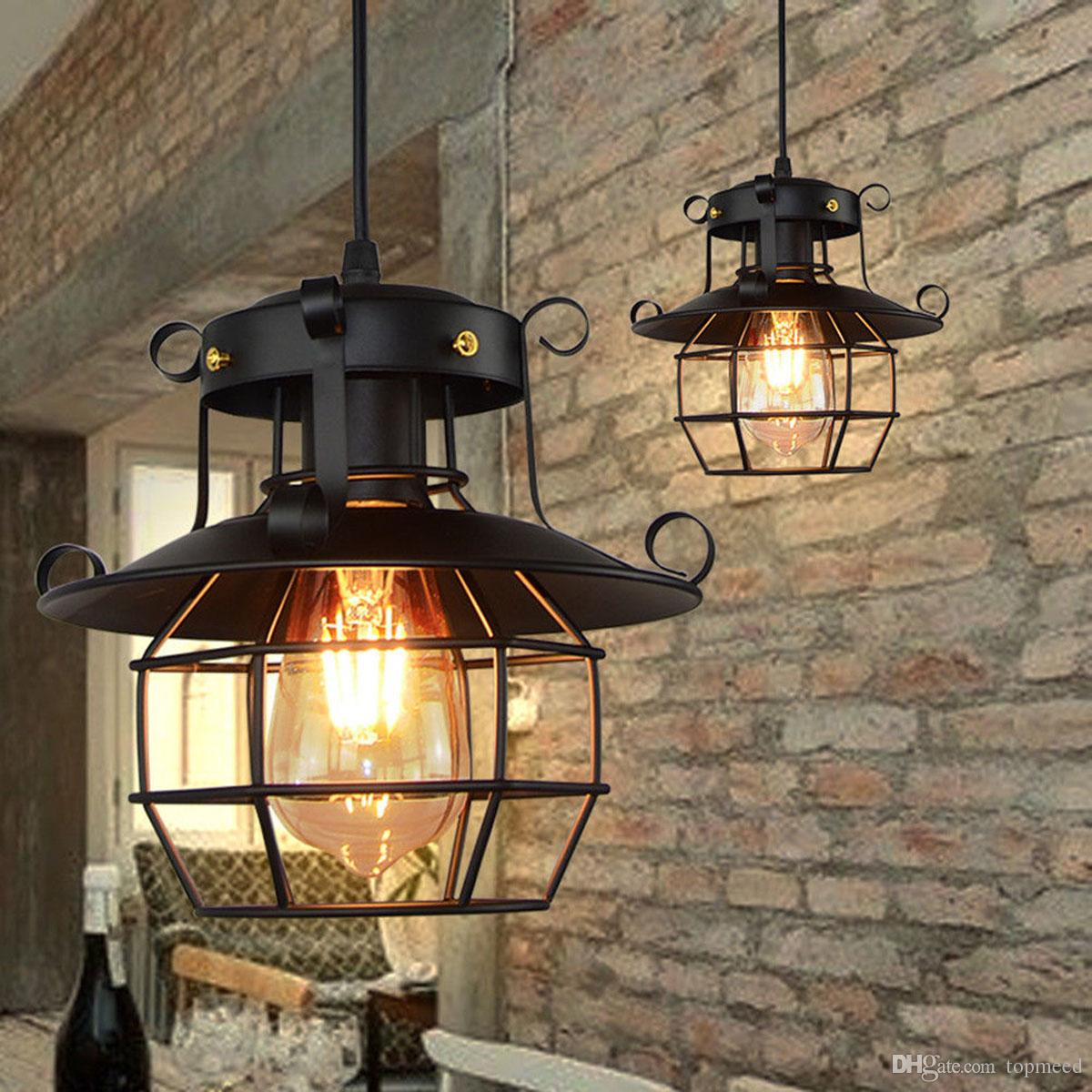 Vintage pendant light metal industrial lamp ceiling light chandelier fixtures cage edison nordic retro loft lamp home decoration low voltage pendant lights