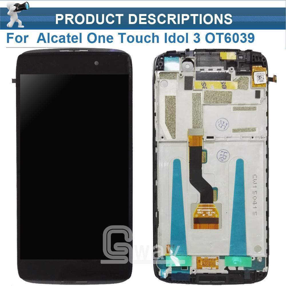 For Alcatel one touch idol 3 OT6039 6039 LCD Screen Display with Touch  Screen Digitizer with Frame