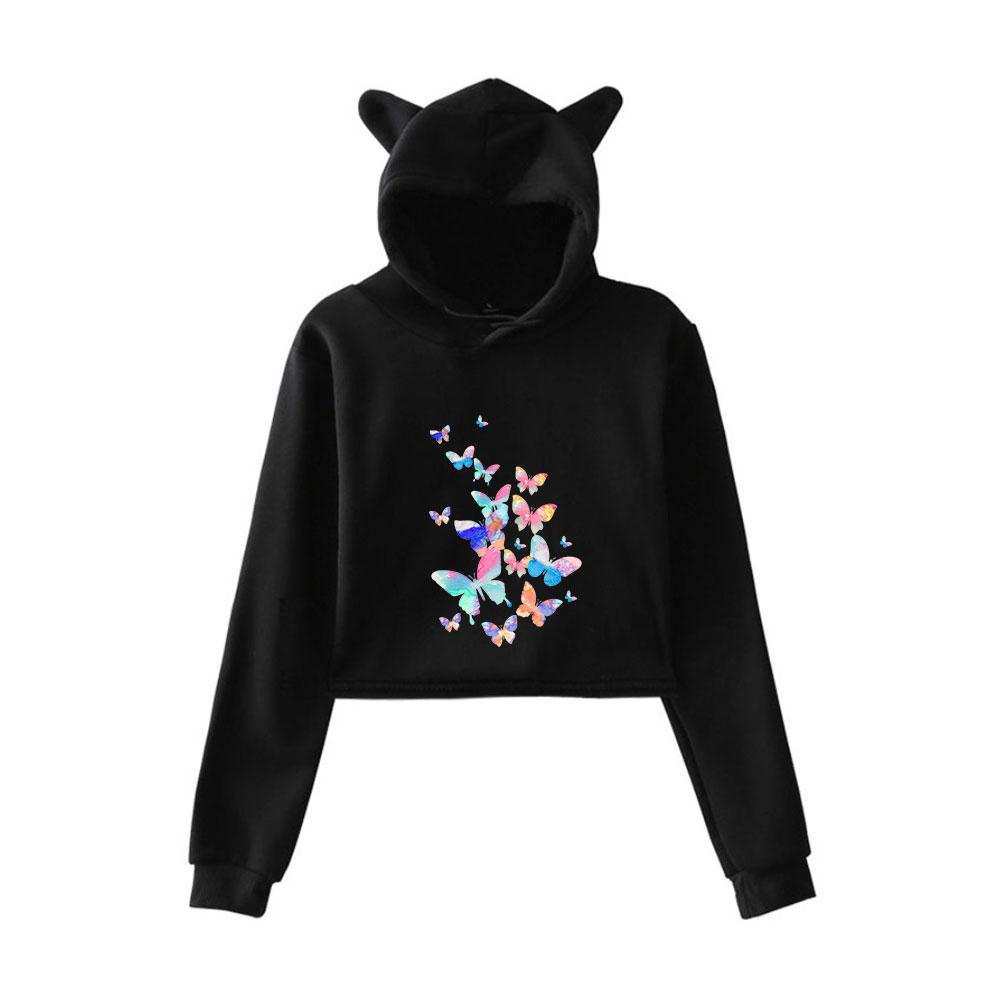 a9b197bf968f2 2019 Cartoon Cute Animal Butterfly Crop Top Hoodies Sweatshirt Long Sleeve  Cat Ears Short Sweatshirt Hooded Cropped Tops Hoodies From Meizuang
