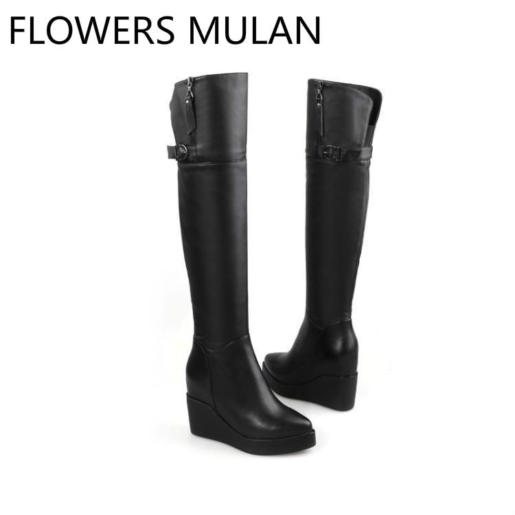 3ff2adc81e65 Black Leather Thigh High Boots Women Pointed Toe High Wedges Heel Winter  Shoes Woman Back Belt Buckle Side Zipper Zapatos Mujer Ankle Boots Cowboy  Boots ...