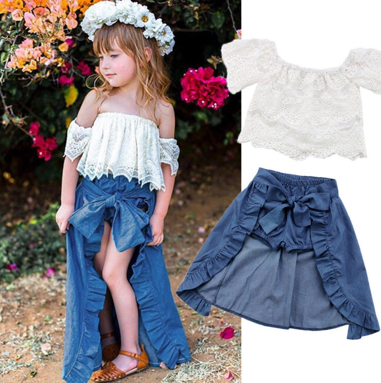 7d51f3e4f5b 2019 New Girl Clothing Set Children Off Shoulder Lace Top And Denim Shorts  Ruffles Bow Skirt Outfit Kids Clothes From Leilar