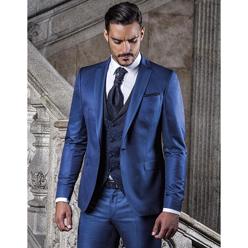 Acquista 2017 Nuovo Custom Made Blue Wedding Suit Suit Tuxedo Homme ... 4d64fc98cb4