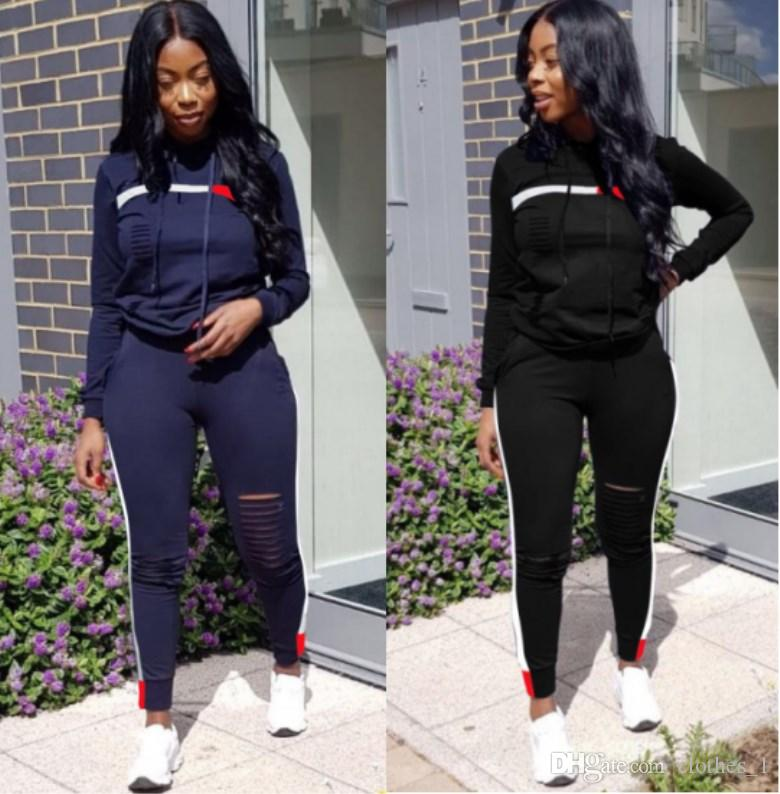 women two piece set tracksuit hoodie legging outfits long sleeve shirt pants sweatsuit pullover tights sportswear sports suit hot klw0187
