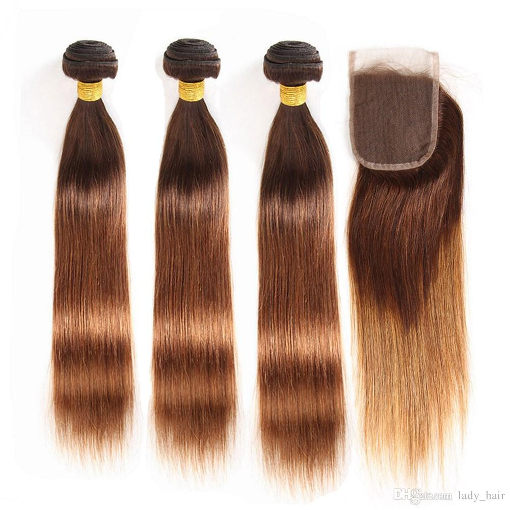 Brown Rooted to Auburn Ombre 3Bundles Indian Virgin Hair with Closure  Straight #4/30 Medium Auburn Ombre Lace Closure 4x4 with Weaves