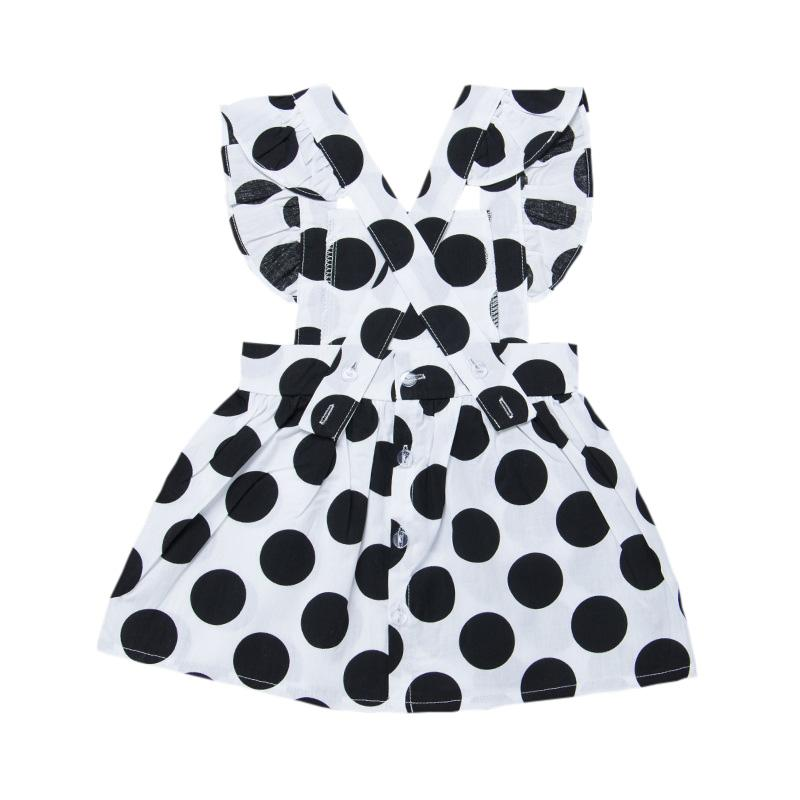Summer Kids Girls Cotton Dress Casual senza maniche cinturino in bianco e nero Dot Print Dress Costume Baby Baby Backless Dresses