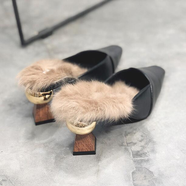 ffa5c4e8f9578 FEUR Luxury Designer Womens Fur Slippers Mules High Heel Fashion outdoor  slippers pointed toe comfort Casual shoes