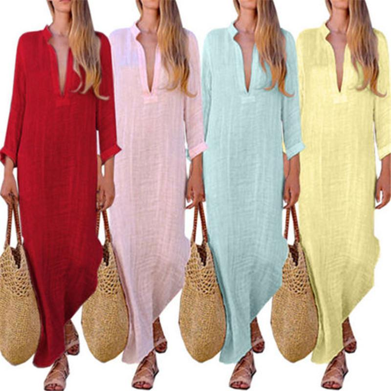 f27048521e3 2019 Sexy Women Vintage Ethnic Style Boho Dresses Casual 2018 New Cotton  Linen Long Sleeve Maxi Dress Pure Color V Neck Split Dresses Y19012201 From  ...