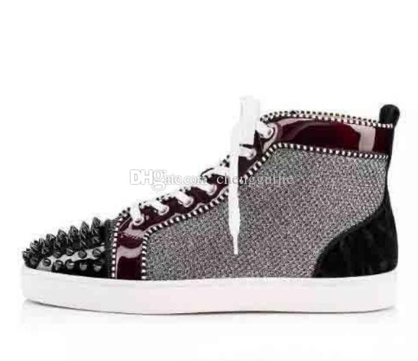 1couple High Top Red Bottom Sneakers Shoes For Women 0e476076a265