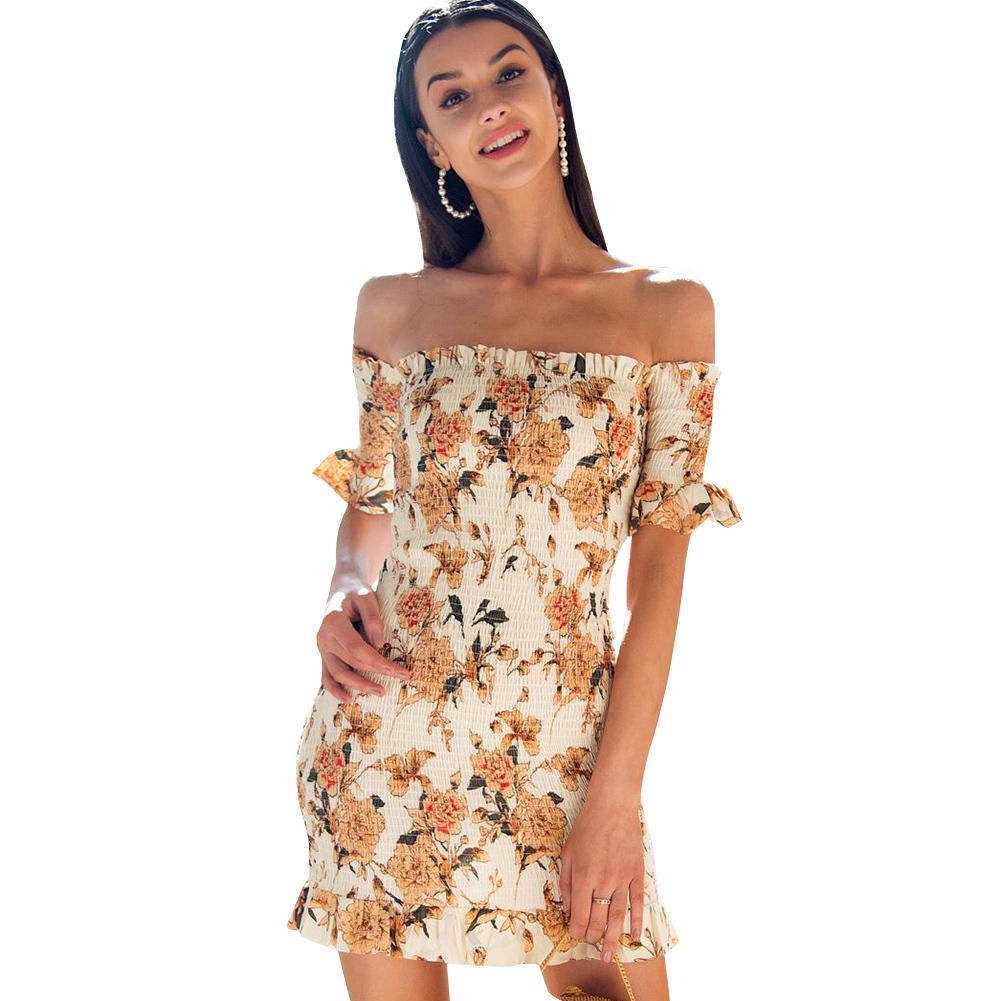 5bb41fe8b540 Sexy Women Short Shirred Dress Off Shoulder Ruffles Bandage Bodycon Dress  2019 Summer New Mini Boho Beach Dress Yellow Vestidos White And Blue Dresses  For ...