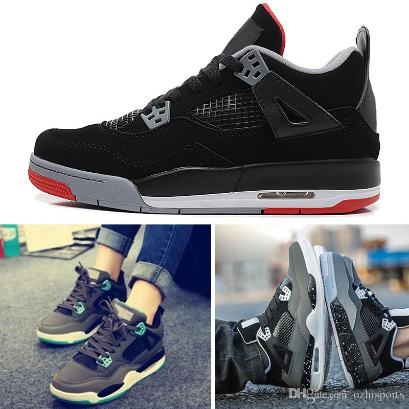 newest d2e3c 5fb63 Compre Nike Air Jordan 4 Retro Basketball Shoes Con Caja Al Por Mayor 4  Cemento Blanco Bred Fire Rojo IV 4s Hombres Mujeres Zapatos Casuales  Zapatos Shoess ...