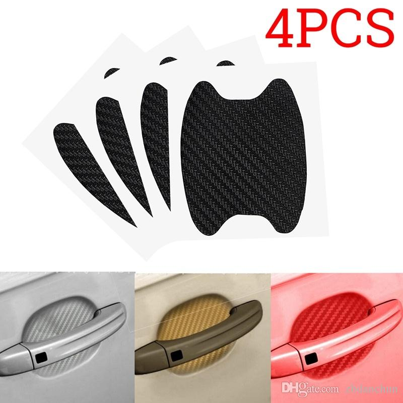 4 Pieces New Carbon Fibre Car Door Handle Sticker Car Handle Paint Protector Anti Scratch Sticker Waterproof Vinyl Films