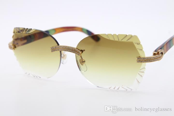 a8ca4d353 Compre Superior Fornecedores Atacado Óculos De Sol Pavão Madeira 3524012  Rimless Sunglasses Menor Pedras Óculos Unisex Novo Com Caixa Lente Marrom  Esculpido ...